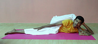 Ananthasayana eka pada sirasana Yoga Master Ram Doss at School of Santhi Yoga Teacher Training School in India