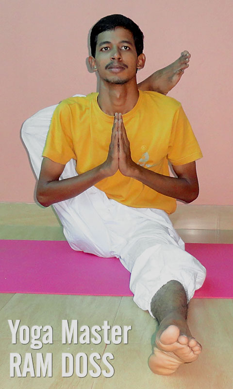 Yoga Teacher Training India, Yoga Master Ram Doss, School of Santhi Yoga School in India. Yoga posture Eka pada sirsasana.